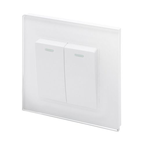 RetroTouch 2 Gang Intermediate 10A Rocker Light Switch White Glass PG 00214